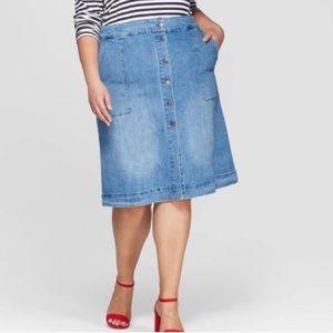 *NWT* Ava + Viv Button Down Denim Skirt